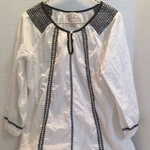 PEEK cotton LS Peasant WHite Top Black Stitching